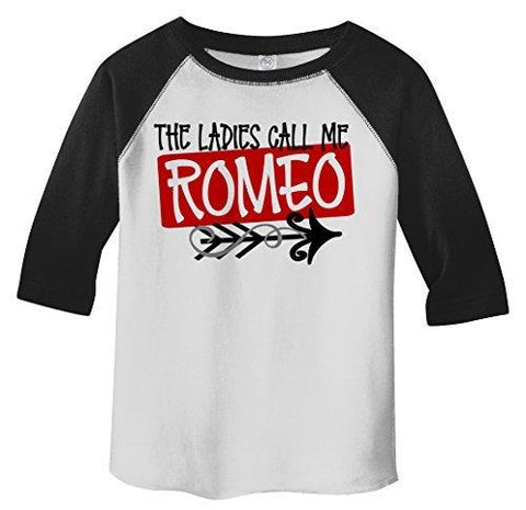 Shirts By Sarah Boy's Toddler Ladies Call Me Romeo Funny Valentines Day 3/4 Sleeve T-Shirt-Shirts By Sarah