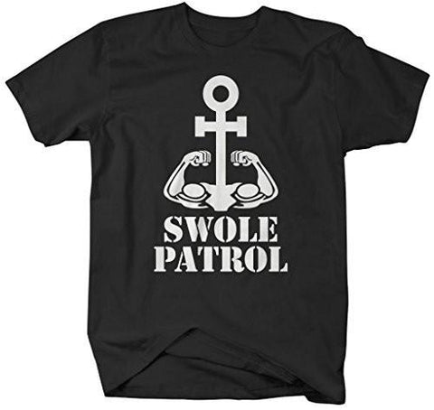 Shirts By Sarah Men's Swole Patrol Workout T-Shirt Anchor Biceps Funny - Black / XX-Large - 2