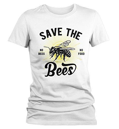 Shirts By Sarah Women's T-Shirt Save The Bees No Food Bee Keeper Gift Shirt-Shirts By Sarah