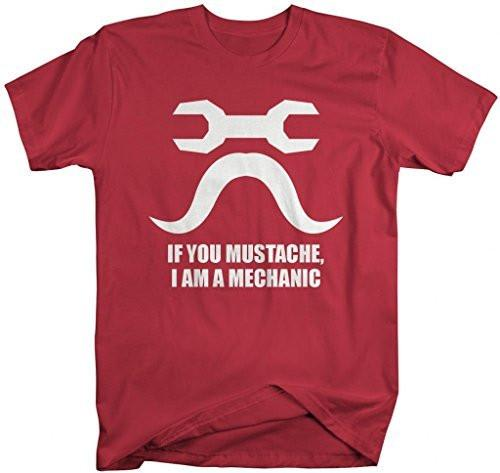 Shirts By Sarah Men's Funny Hipster Mechanic Mustache T-Shirt-Shirts By Sarah