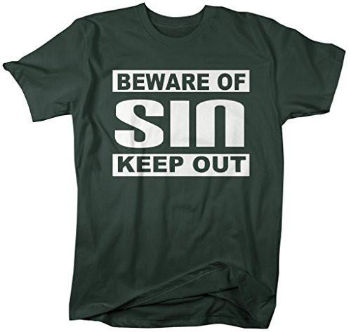 Shirts By Sarah Men's Religious Beware Of Sin T-Shirt Religious Shirts-Shirts By Sarah