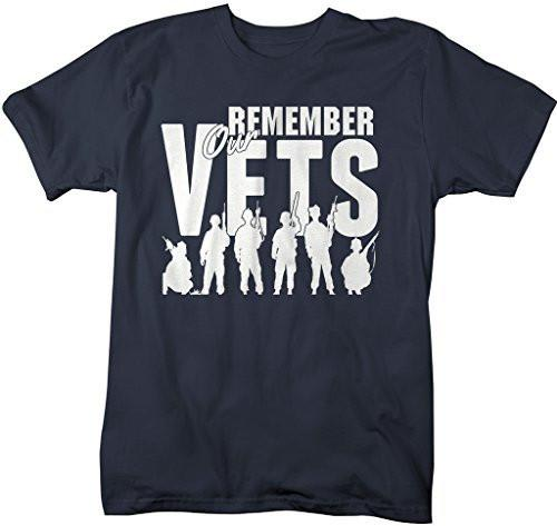 Shirts By Sarah Men's Remember Our Vets T-Shirt Memorial Day Veterans Shirt-Shirts By Sarah
