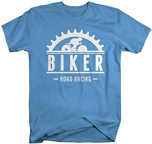 Shirts By Sarah Men's Biking Shirt Road Racing Bicyclist T-Shirts-Shirts By Sarah