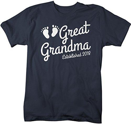 Shirts By Sarah Women's Great Grandma Established 2018 T-Shirt Baby Feet Cute Shirts-Shirts By Sarah
