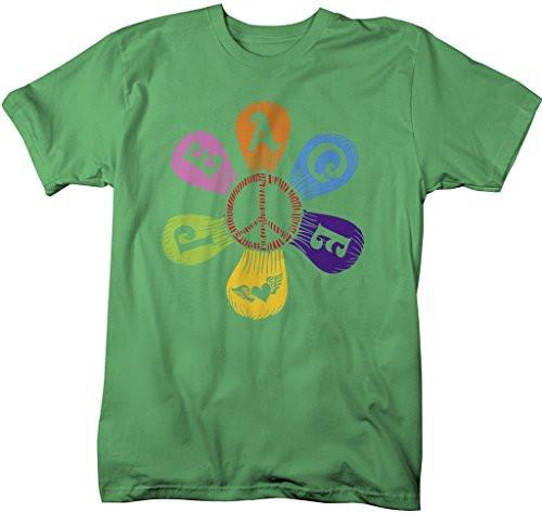 Shirts By Sarah Men's Peace Flower T-Shirt Love Hippie Tee-Shirts By Sarah