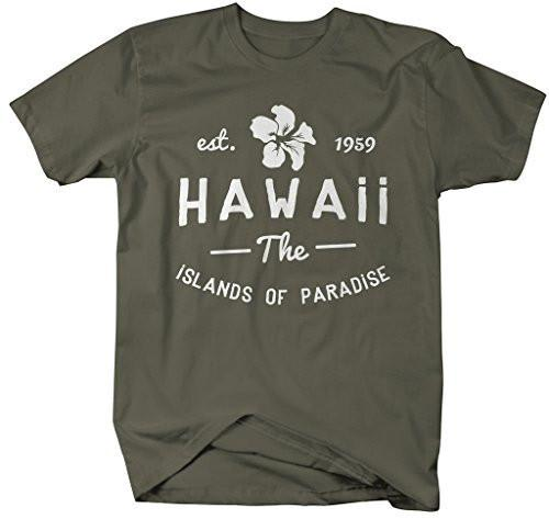 Shirts By Sarah Men's Hawaii State Shirt The Islands Of Paradise T-Shirt Est. 1959-Shirts By Sarah
