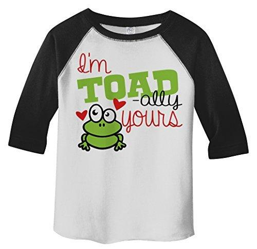 Shirts By Sarah Toddler Toadally Yours Kids Funny Frog Valentine's Day 3/4 Sleeve T-Shirt-Shirts By Sarah