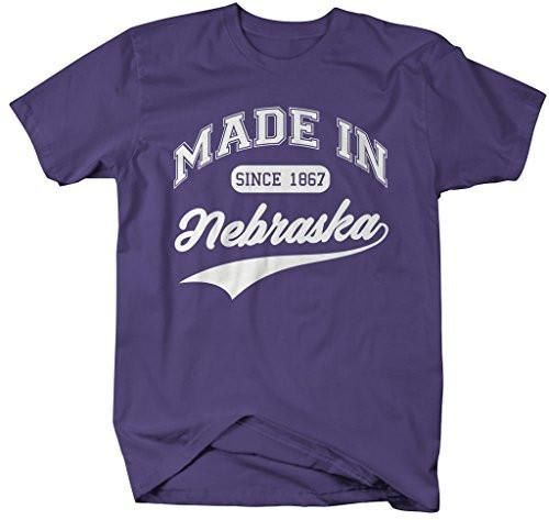 Shirts By Sarah Men's Made In Nebraska T-Shirt Since 1867 State Pride Shirts-Shirts By Sarah