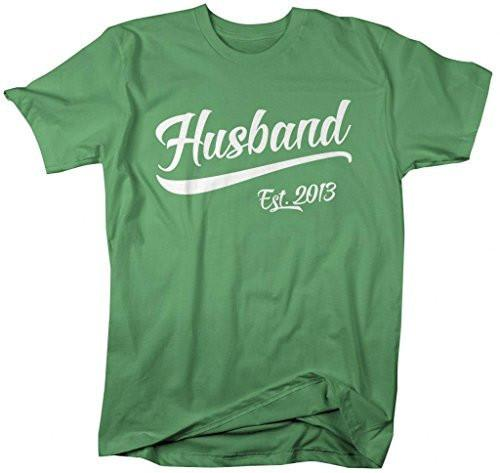 Shirts By Sarah Men's Husband Est. 2013 T-Shirt Wedding Anniversary Shirts-Shirts By Sarah