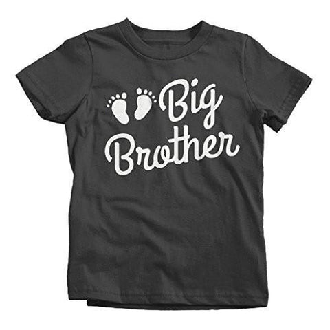 Shirts By Sarah Boy's Big Brother Shirt Baby Feet T-Shirt Cute Promoted-Shirts By Sarah