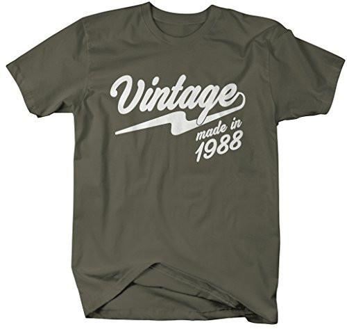 Shirts By Sarah Men's Vintage Made In 1988 T-Shirt Retro Birthday Shirts-Shirts By Sarah