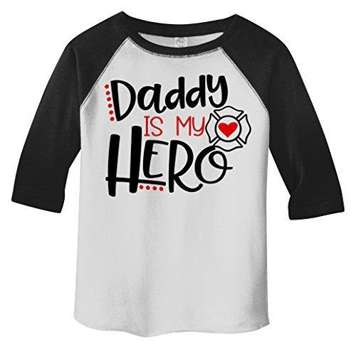 Shirts By Sarah Toddler Daddy Is Hero Fireman Firefighter 3/4 Sleeve Raglan T-Shirt-Shirts By Sarah