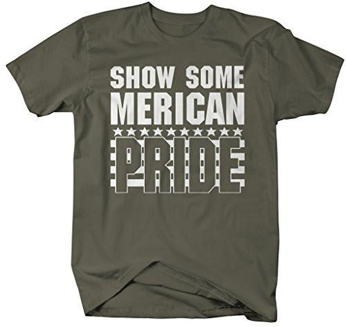 Shirts By Sarah Men's Show Some Merican Pride T-Shirts Patriotic 4th July Shirts-Shirts By Sarah