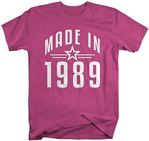 Shirts By Sarah Men's Made In 1989 Birthday T-Shirt Retro Star Custom Shirts-Shirts By Sarah