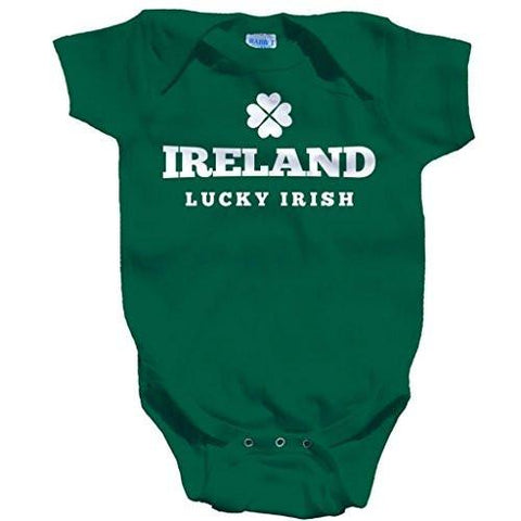 Shirts By Sarah Baby St. Patrick's Day Creeper Ireland Lucky Irish One Piece Creeper - Green / 12 Months