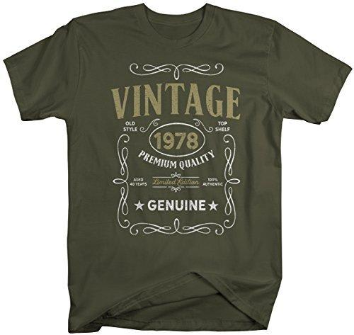 Shirts By Sarah Men's Vintage 1978 40th Birthday T-Shirt Classic Forty Gift Idea-Shirts By Sarah