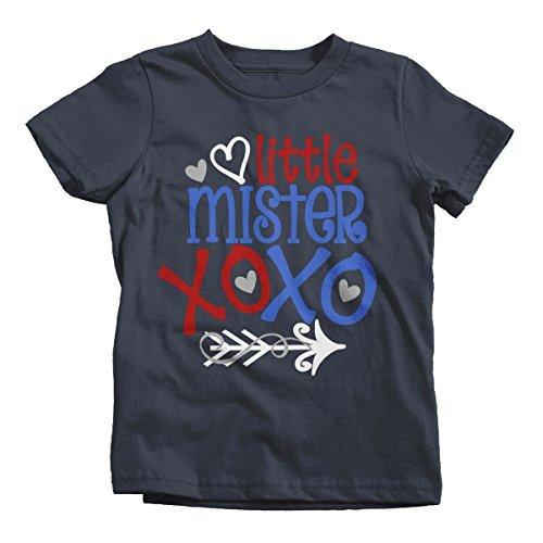 Shirts By Sarah Boy's Little Mister Mr. XOXO Funny Valentines Day T-Shirt-Shirts By Sarah