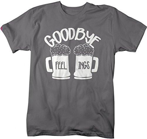 Shirts By Sarah Men's Funny Goodbye Feelings Drinking T-Shirt Beer Mugs-Shirts By Sarah