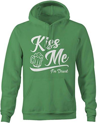 Shirts By Sarah Men's Saint Patrick's Day Hoodie Funny Kiss Me I'm Drunk-Shirts By Sarah