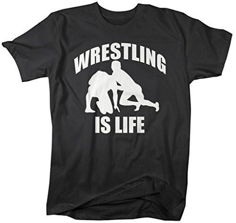 Shirts By Sarah Men's Wrestling Is Life T-Shirt Wrestler Shirts-Shirts By Sarah