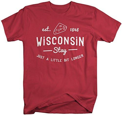 Shirts By Sarah Men's Wisconsin State Slogan Shirt Stay Longer T-Shirt Cheese Est. 1848-Shirts By Sarah