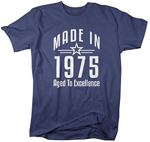 Shirts By Sarah Men's Made In 1975 Birthday T-Shirt Aged To Excellence Shirts-Shirts By Sarah