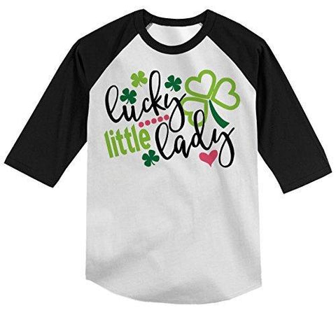 Shirts By Sarah Boy's Funny ST. Patrick's Day T-Shirt Lucky Little Lady Clover Raglan Tee-Shirts By Sarah
