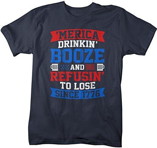 Shirts By Sarah Men's Patriotic Funny 'Merica Drinkin' Booze T-Shirt 4th July-Shirts By Sarah