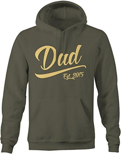 Shirts By Sarah Men's Dad Est. 2015 Hoodie Fathers Day Pullover-Shirts By Sarah