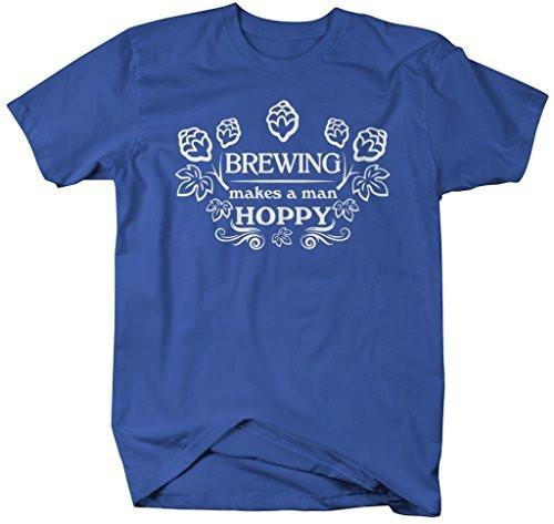 Shirts By Sarah Men's Brewing Makes A Man Hoppy Hipster T-Shirt-Shirts By Sarah