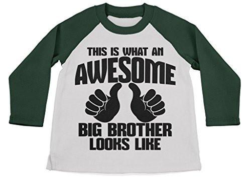 Shirts By Sarah Boy's Awesome Big Brother Shirt 3/4 Sleeve Raglan Shirts-Shirts By Sarah