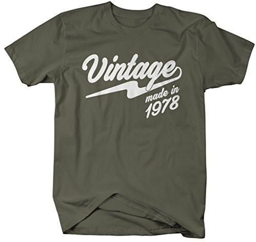 Shirts By Sarah Men's Vintage Made In 1978 T-Shirt Retro Birthday Shirts-Shirts By Sarah