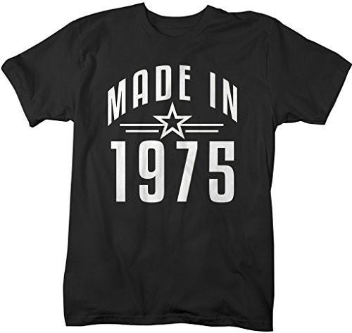 Shirts By Sarah Men's Made In 1975 Birthday T-Shirt Retro Star Custom Shirts-Shirts By Sarah