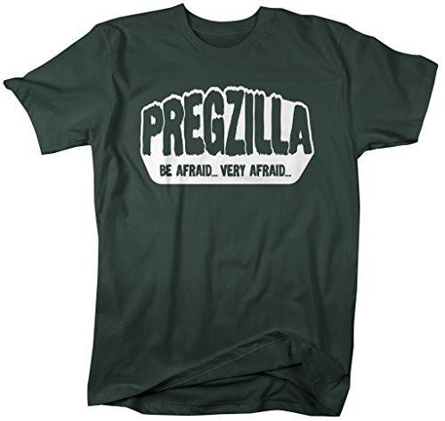 Shirts By Sarah Women's Unisex Funny Pregzilla T-Shirt Be Afraid Pregnancy Shirts-Shirts By Sarah