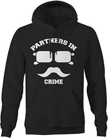 Shirts By Sarah Unisex Best Friend Couples Hoodies Partners In Crime Hipster Mustache-Shirts By Sarah