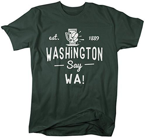 Shirts By Sarah Men's Washington State Slogan Shirt Say WA T-Shirts Est. 1889-Shirts By Sarah
