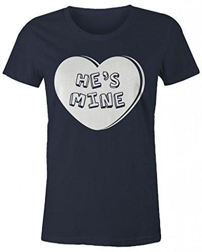 Shirts By Sarah Women's Matching Valentine's Day Couples T-Shirts He's Mine Heart Shirts-Shirts By Sarah