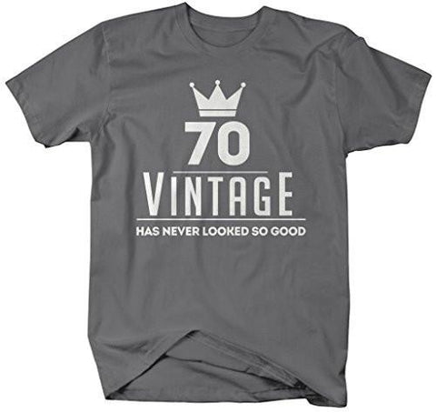 Shirts By Sarah Mens Funny 70th Birthday T Shirt Vintage Never Looked So Good