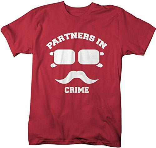 Shirts By Sarah Unisex Best Friend Couples T-Shirts Partners In Crime Hipster Mustache-Shirts By Sarah