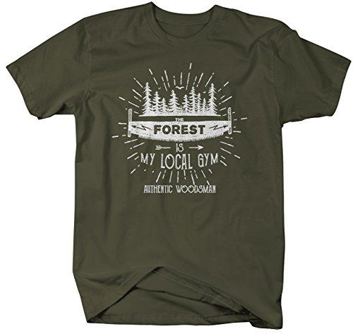 Men's Funny Lumberjack T-Shirt The Forest Local Gym Woodsman Tee Shirt-Shirts By Sarah