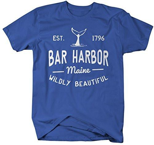Shirts By Sarah Men's Bar Harbor Maine T-Shirt Whale Watching ME Shirts-Shirts By Sarah