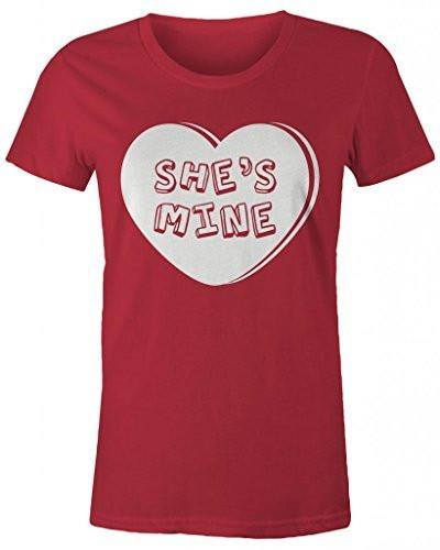 Shirts By Sarah Women's Matching Valentine's Day Couples T-Shirts She's Mine Heart Shirts-Shirts By Sarah