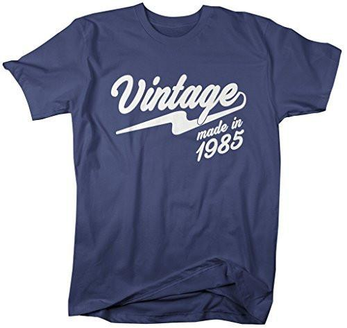 Shirts By Sarah Men's Vintage Made In 1985 T-Shirt Retro Birthday Shirts-Shirts By Sarah