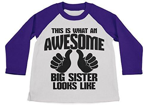 Shirts By Sarah Girl's Awesome Big Sister Shirt 3/4 Sleeve Raglan Shirts-Shirts By Sarah