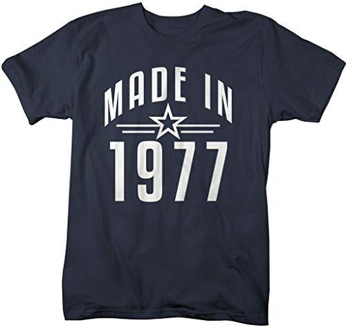 Shirts By Sarah Men's Made In 1977 Birthday T-Shirt Retro Star Custom Shirts-Shirts By Sarah