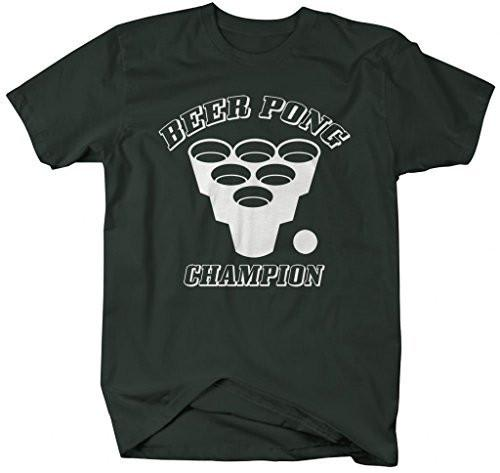 Shirts By Sarah Men's Funny Beer Pong Champion T-Shirt Drinking Shirts-Shirts By Sarah