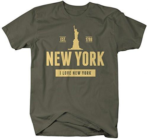 Shirts By Sarah Men's New York State Pride T-Shirt Statue Liberty Love Shirts-Shirts By Sarah