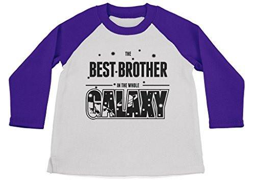 Shirts By Sarah Boy's Best Brother In Galaxy Cute Space 3/4 Sleeve Raglan Shirt-Shirts By Sarah