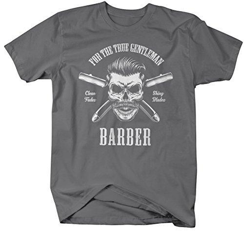 Shirts By Sarah Men's Barber Skull T-Shirt Barbers Shirts Shiny Blades-Shirts By Sarah