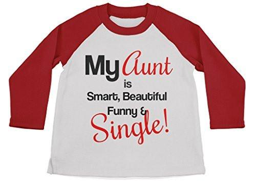 Shirts By Sarah Youth Funny Aunt Shirt 3/4 Sleeve Raglan Shirts Smart Beautiful-Shirts By Sarah